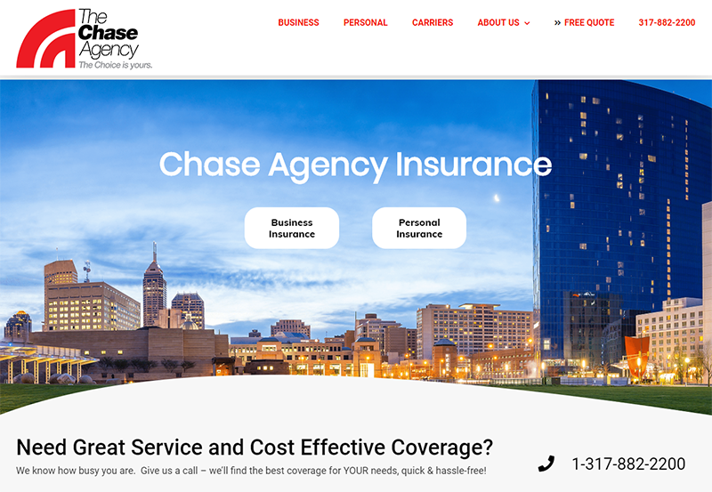 Chase Agency Insurance Home Page View